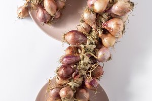 Bouquet of fresh red onions