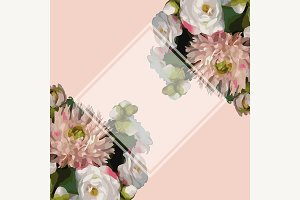 Peony floral frame border vector