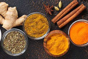 Traditional Indian spices on rusty