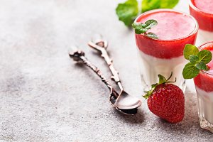 Delicious dessert panna cotta with