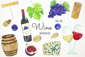 Watercolor Wine Clipart