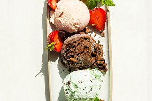 Selection of different ice cream sco