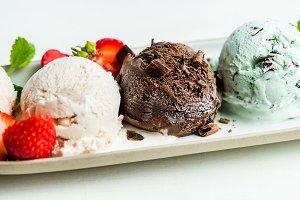 Selection of different ice cream sco