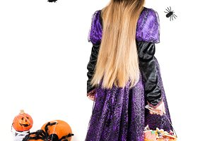 Girl in a Witch Dress with Halloween