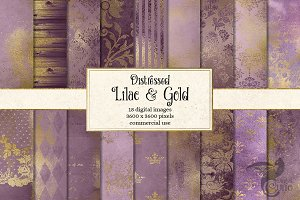 Lilac and Gold Digital Paper