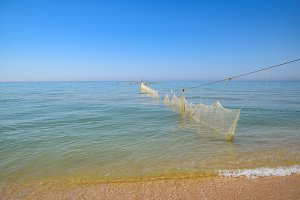 Fishing nets set in the sea. Fishing