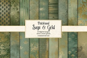 Sage and Gold Digital Paper