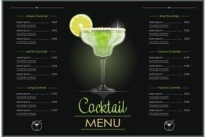 Margarita glass. Cocktail menu