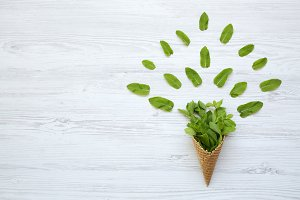 Waffle sweet cone with mint leaves