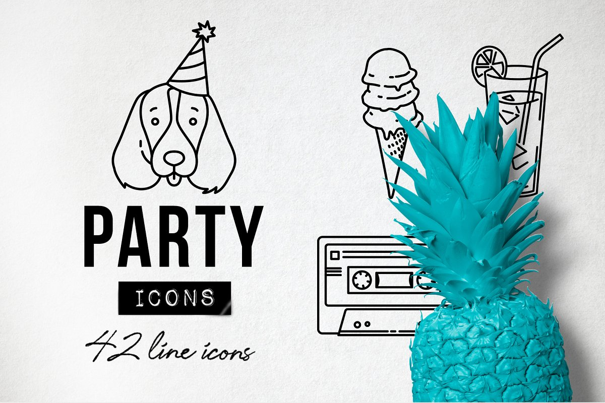 42 Party Icons Pack Set