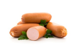 Sausage with parsley on a white
