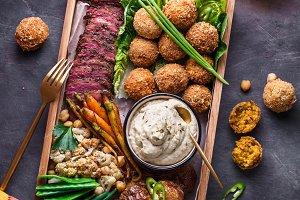 Arabian style dinner: falafel, beef