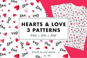 3 Hearts & Love lettering patterns