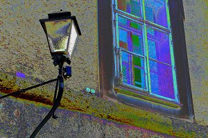 Old window and street lamp.