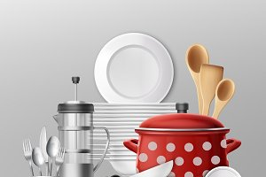 Dishes and cooking utensils