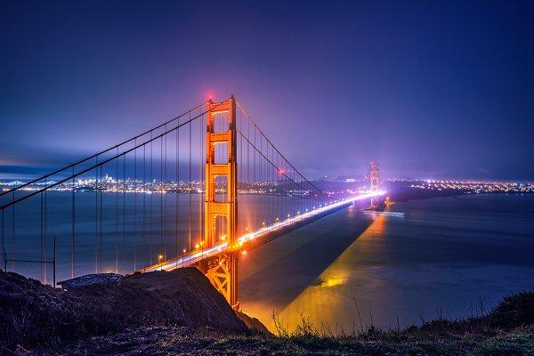 Stock Photos: Nick Fox  - Golden Gate Bridge at night