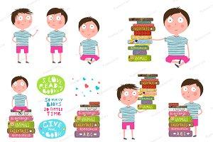 Boy Reading Pile of Books Clip Art