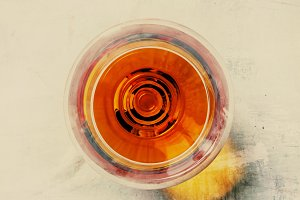 Brandy glass, vintage toned image, t