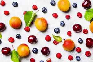 Food background, fresh berries and f
