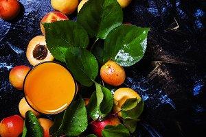 Apricot smoothies, dark background,