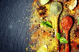 Food spice background, flatlay, top