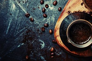 Food coffee background, banner, top