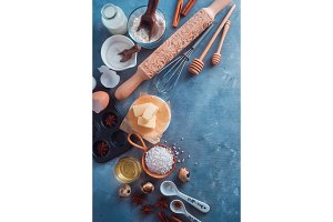 Baking tools and ingredients from