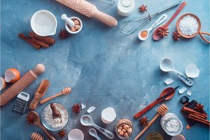 Cooking flat lay header with baking