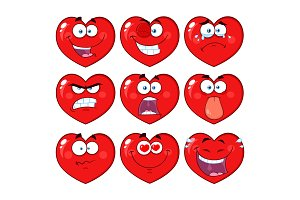 Red Heart Cartoon Emoji Face - 1