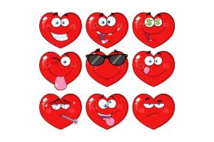 Red Heart Cartoon Emoji Face - 2