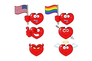 Red Heart Cartoon Emoji Face - 3