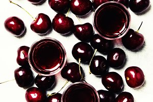 Homemade cherry liqueur and fresh ch