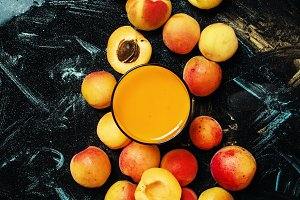 Apricot smoothie, dark background, t