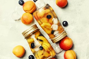 Icy refreshing drink with apricots,