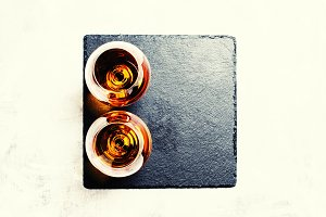 Brandy in a glasses, top view