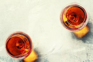 Cognac in a glasses, top view