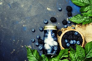 Summer berry drink with blueberries,