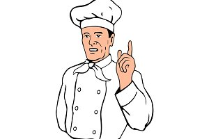 Chef Pointing Finger Up Retro