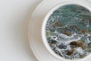 Cup of sea. Creative concept
