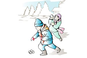 Children Throwing Snowball Retro