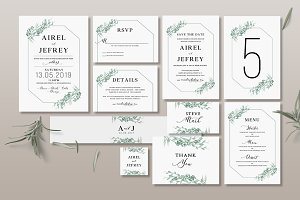 Foliage Wedding Invitation Suite