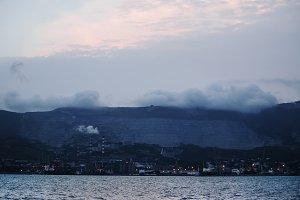 Night panorama of the seaport