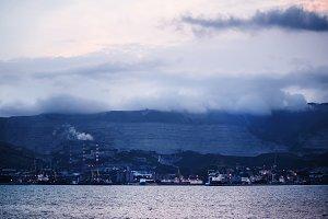Night panorama of the sea port town,