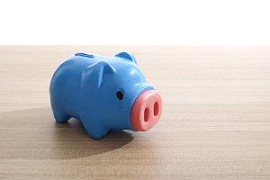 Plastic blue piggy bank