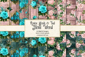 Rustic Blush and Teal Floral Wood
