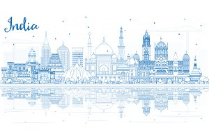 Outline India City Skyline