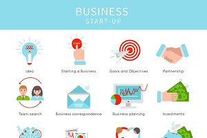 Flat Business Startup Elements Set