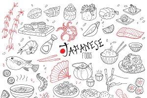 Sketch Japanese Cuisine Elements Set