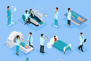 Isometric Doctors And Patients Set