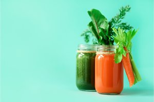 Healthy organic green and orange